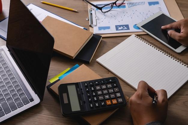 Man work finance  accounting calculating mathematic economic digital device