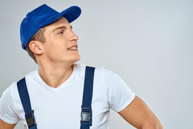 Man worker in forklift uniform delivery service light