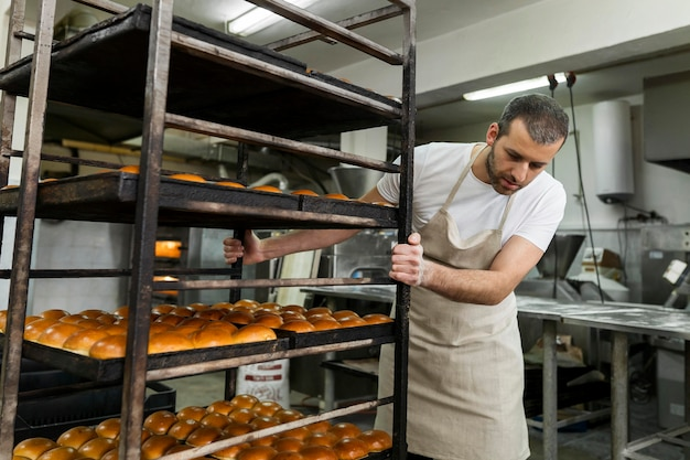 Man working in a bread factory