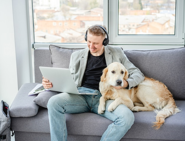 Man working distantly at home