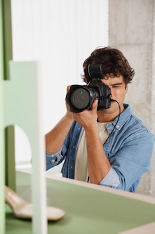 Man working in his photography studio