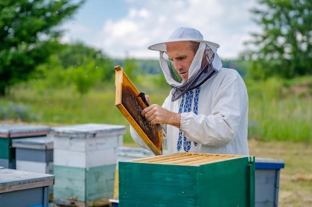 Человек, работающий на пасеке. защитная одежда. пчеловодство. концепция пчеловодства.
