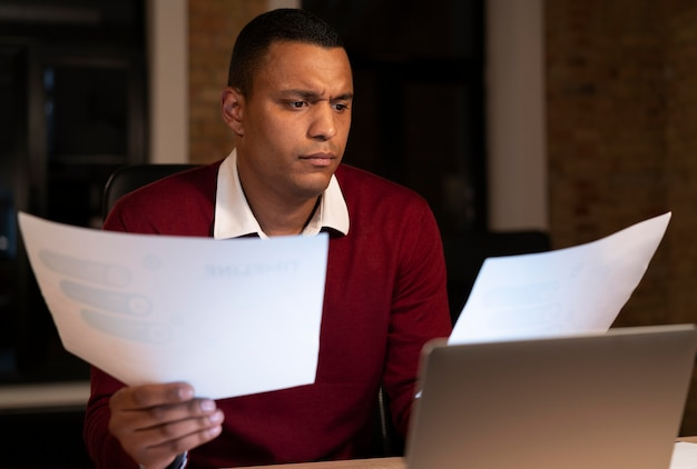Man working late for an urgent project