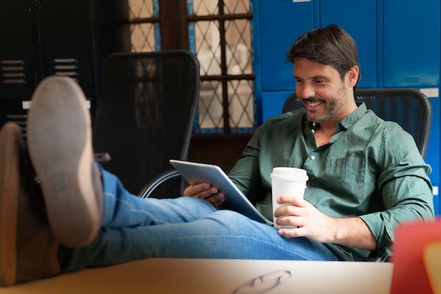 Man working in modern office space