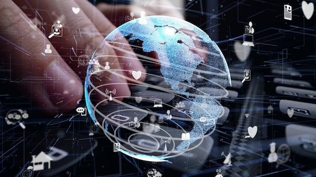 인터넷 네트워크 현대화의 그래픽으로 컴퓨터 키보드에서 작업하는 사람