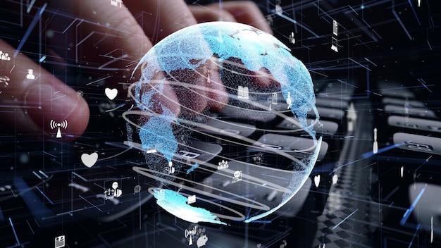 インターネット ネットワークの近代化のグラフィックでコンピューターのキーボードに取り組んでいる男