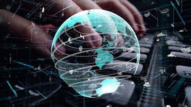 ビジネス データ分析の近代化のグラフィックを使用してコンピューターで作業している男性