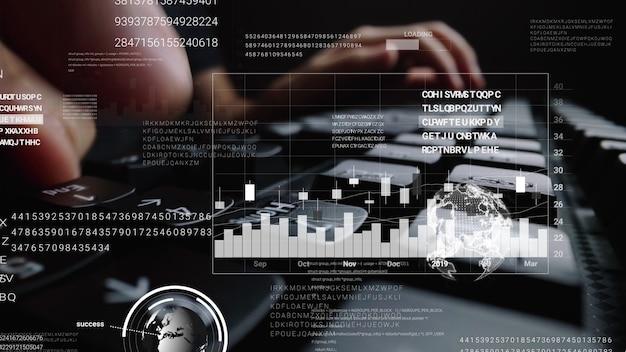 빅 데이터 과학 기술, 디지털 네트워크 연결 및 컴퓨터 프로그래밍 알고리즘의 개념을 보여주는 그래픽 사용자 인터페이스 gui 홀로그램으로 랩톱 컴퓨터 키보드에서 작업하는 사람.
