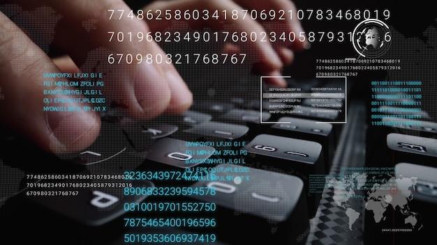 ビッグデータサイエンス技術の概念を示すグラフィックユーザーインターフェイスguiホログラムを備えたラップトップコンピューターのキーボードで作業している男