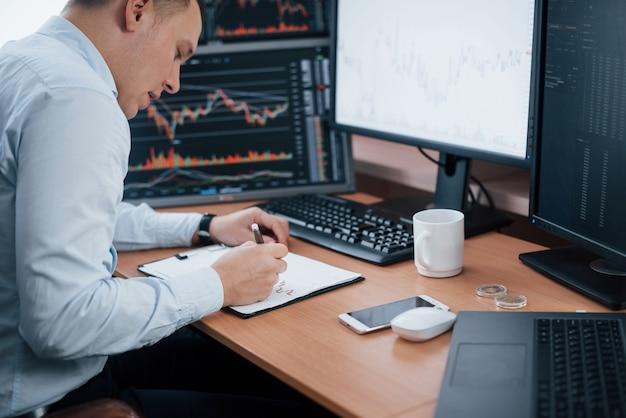 インデックスチャートの複数のコンピュータ画面でオフィスでオンラインで作業している男性。