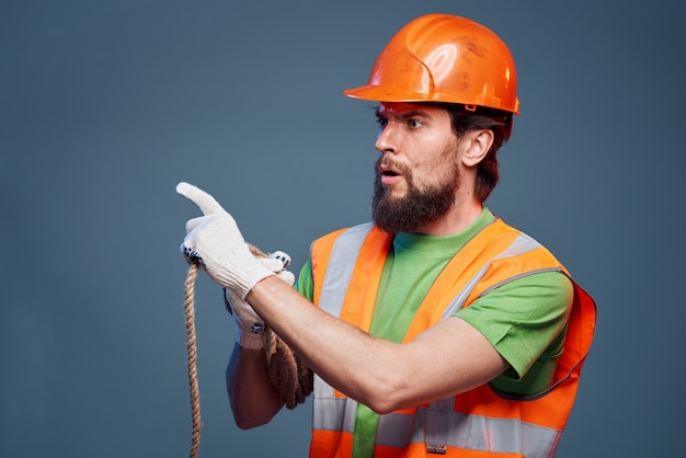 A man in a working uniform construction security professionals. high quality photo