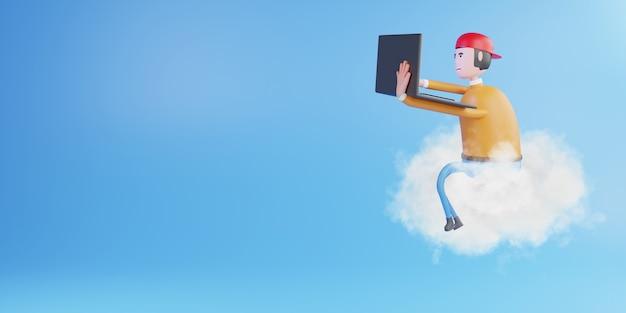Человек, работающий с ноутбуком, сидя на облаке