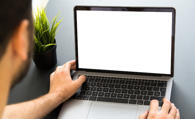 Man working with responsive web design screen laptop