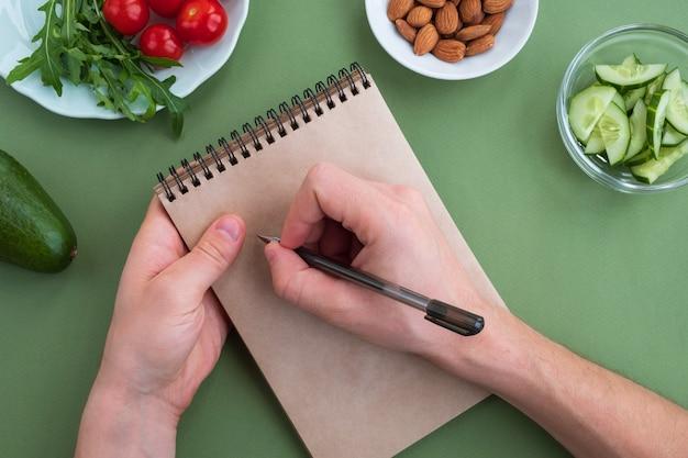 男はメモでダイエット計画を書く