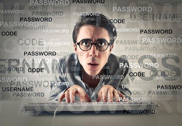 Man writting  password