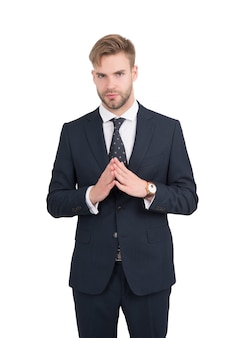 Manage better. project manager isolated on white. office manager in formalwear. formal fashion style. hair design trends. barbershop. running business. managing staff. managerial skills at work.
