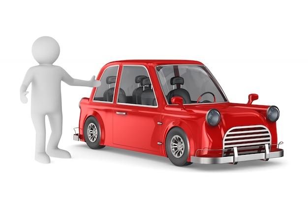 Менеджер и красная машина на белом.