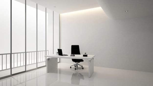 Офисная комната или офисная комната, 3d renderin