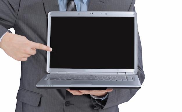 開いているラップトップを表示しているマネージャー