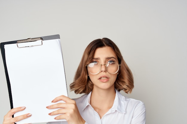 Manager with documents in hand lifestyle isolated background