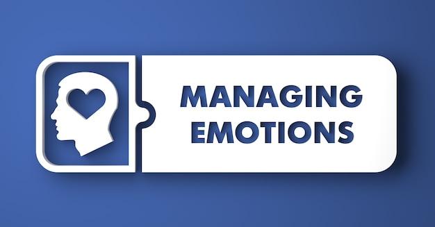 감정 개념 관리. 평면 디자인 스타일에 파란색 배경에 흰색 버튼.