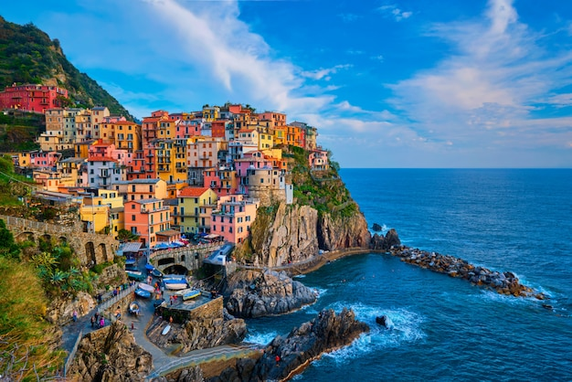 Manarola village on sunset, cinque terre, liguria, italy