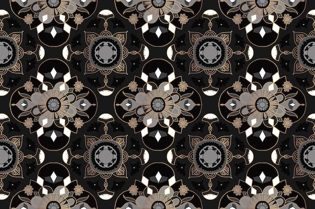 マンダラ黒花インドパターン背景