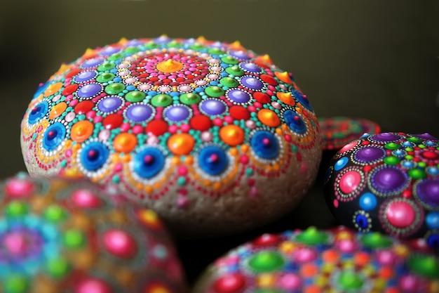 Mandala dot painting colorful stone
