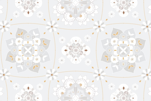 Mandala gray botanical indian pattern background