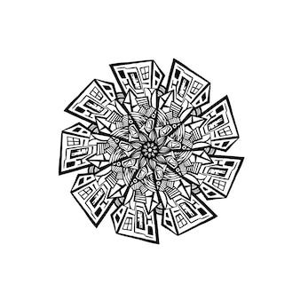 Дизайн шаблона мандалы с рисованной мандалой восточный узор концепция расслабления и медитации