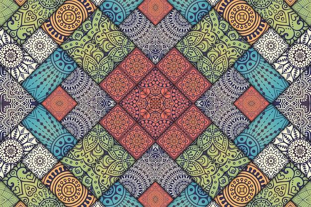 만다라 타일 패턴 꽃 패턴, 페인트 타일의 기하학적 이미지, 모로코 스타일 아랍어 패턴.
