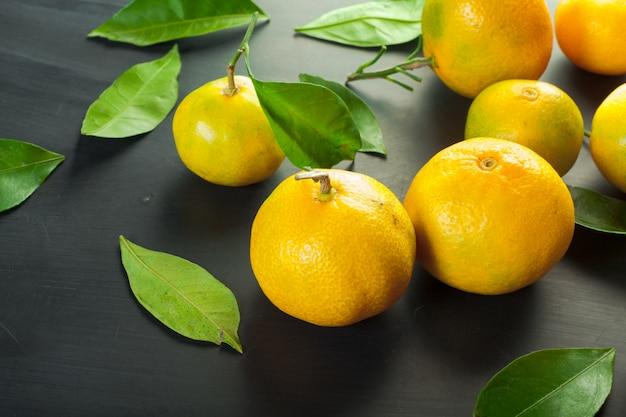 Mandarins on a black background