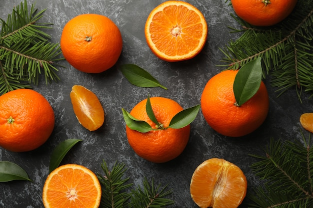 Mandarins and pine branches