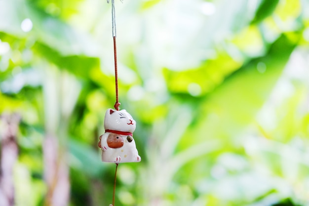 Maneki neko is japanese lucky cat doll hanging on the window with green nature background