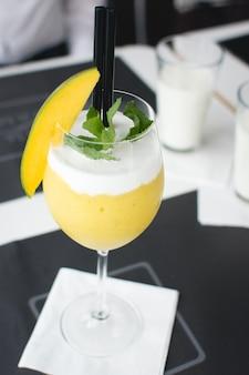 Mango cocktail in restaurant