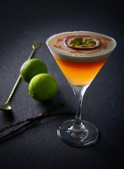 Mango cocktail lemon and passion fruit