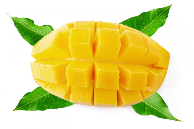 Mango cubes and slices isolated