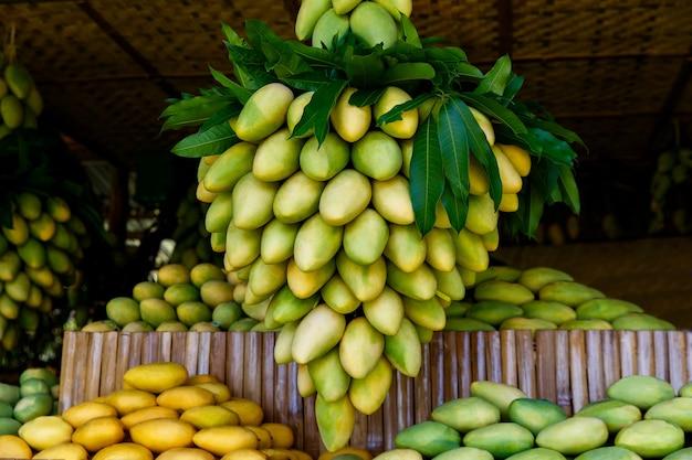 거리 시장에서 신선한 망고 과일과 함께 망고 축제 스탠드