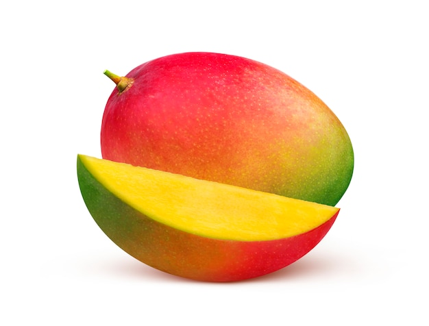 Mango fruit isolated on white background with clipping path