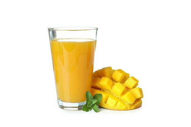 Mango juice and fruit isolated on white surface