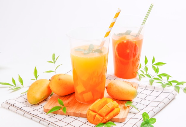 Mango juice. summer fresh fruit juice drink