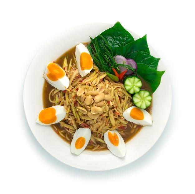 Mango spicy salad served salt egg thai food hot  spicy tasty appetizer