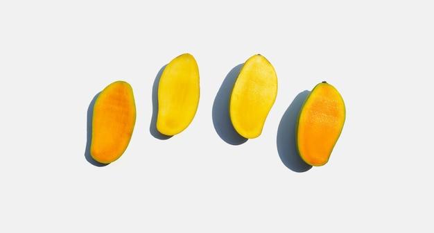 Mango on white background. top view