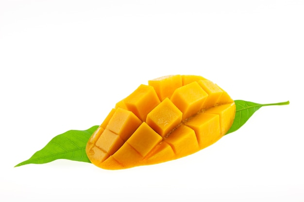 Mango with leaves isolated on white background.