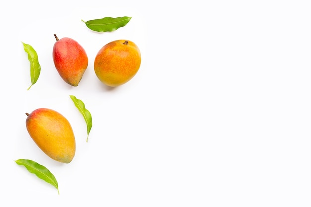 Mango with leaves on white background.