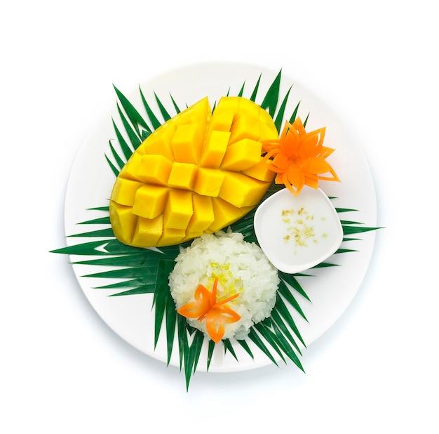 Mango with sticky rice served coconut milk sauce thai dessert