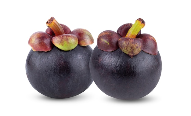 Mangosteen isolated on white background. full depth of field