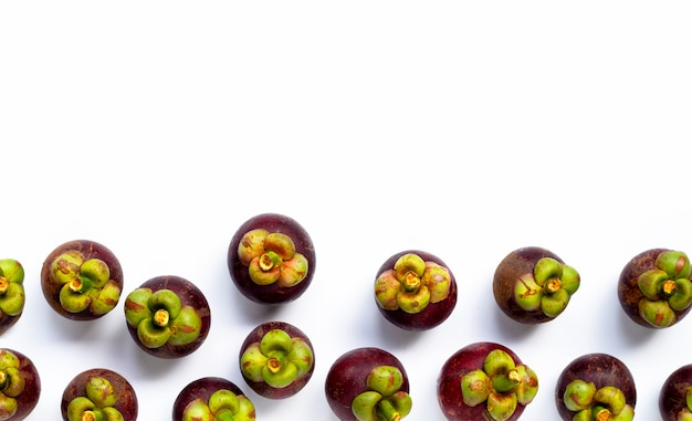 Mangosteen isolated on white background. top view
