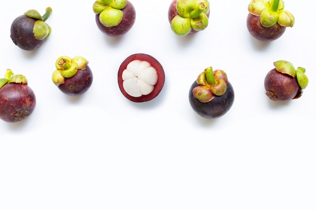 Mangosteen isolated on white.