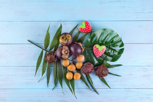 Mangosteen, lichi and rambutan